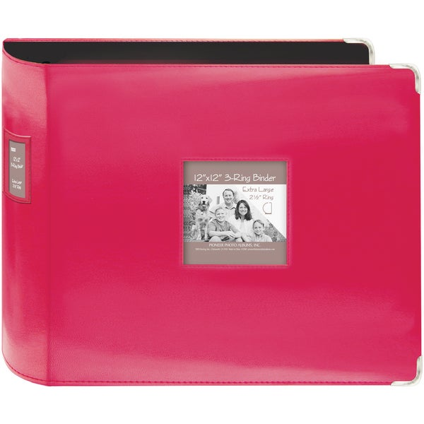"""Sewn Leatherette 3-Ring Binder 12""""X12""""-Bright Pink"""
