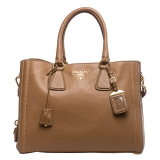 Prada 'Cervo' Camel Leather Center-zip Tote