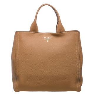 Prada 'Daino' Large Natural Pebbled Leather Tote