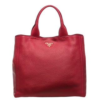 Prada 'Daino' Large Red Pebbled Leather Tote