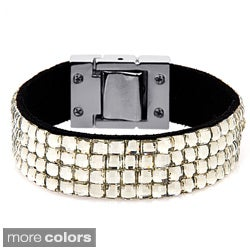 Leather and Silvertone Princess-cut Crystal Stud Bracelet