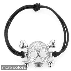 Silvertone Skull and Crossbones Stretch Bracelet