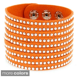 Rhodium-plated and Studded Leather Wide Cuff Bracelet