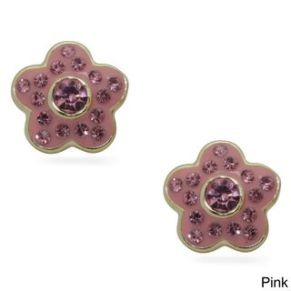 Gioelli 18k Gold Overlay Children's Crystal and Enamel Flower Earrings