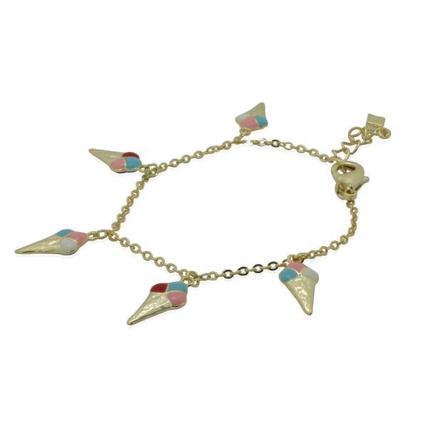 Junior Jewels 18k Yellow Gold Overlay Children's Enamel Ice Cream Charm Bracelet 11294941