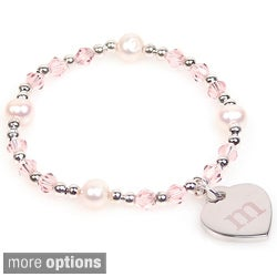 Personalized Silver FW Pearl and Crystal Heart Charm Bracelet (8 mm)
