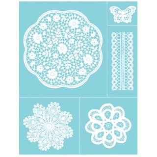 "Martha Stewart Crafts Glass Silkscreen 8-1/2""X11""-Doily Lace"