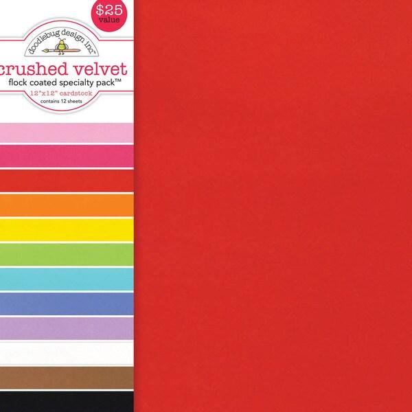 "Specialty Cardstock Value Pack 12""X12""-Flocked Crushed Velvet"