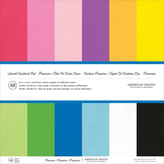 "American Crafts Smooth Cardstock Pack 12""X12"" 48/Pkg-Primaries"