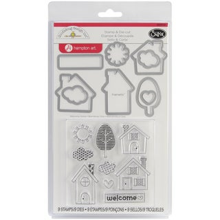 Sizzix Framelits Dies 9/Pkg With Clear Stamps By Doodlebug-Welcome Home