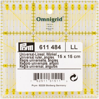 Omnigrid Metric Quilter's Ruler-15cm X 15 Cm W/Angles