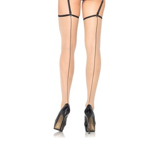 Leg Avenue Women's Spandex Sheer Contrast Backseam Stockings
