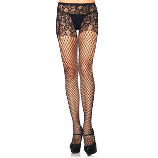 Leg Avenue Women's Industrial Net Crotchless Floral Vine Lace Top Pantyhose