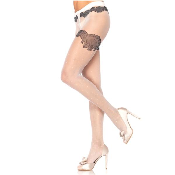 Leg Avenue Women's Sheer Woven Polka-dot Pantyhose