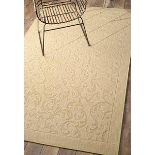 nuLOOM Solid Floral Scroll Jute Beige Rug (8' x 10')