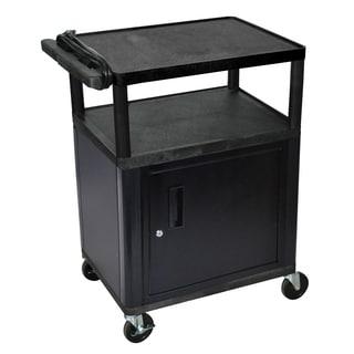 Luxor Mobile Black Presentation 3-shelf Electric AV Cart With Lockable Storage Cabinet