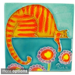 Fat Cat Hand Crafted Art Tile (China)
