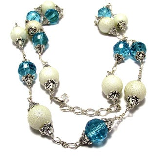 Silverplated Aqua Crystals and Off White Bumpy Glass Pearls