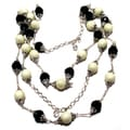 Silverplated Green Crystal and Off White Bumpy Glass Pearl Jewelry Set