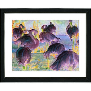 Studio Works Modern 'Flocking Flamingos - Violet' Framed Art Print
