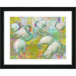 Studio Works Modern 'Flocking Flamingos - White' Framed Art Print