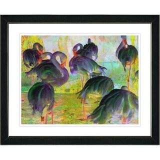 Studio Works Modern 'Flocking Flamingos - Green' Framed Art Print