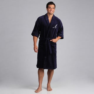 Monogram Cotton Velour Unisex Navy Bath Robe