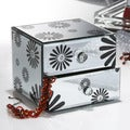 Black Flower Mirrored 2-drawer Jewelry Box