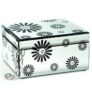 Black Flower Mirrored Jewelry Box