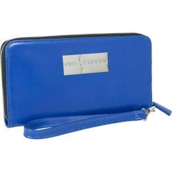 Women's Luis Steven Larisa Zipper Wallet C-3025 Blue Leather
