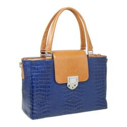 Women's Luis Steven Laura Large Tote with Crystal Lock T-4230 Blue Leather