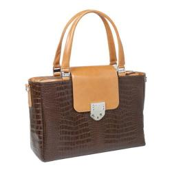 Women's Luis Steven Laura Large Tote with Crystal Lock T-4230 Brown Leather