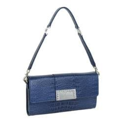 Women's Luis Steven Luisa Clutch with Crystal Logo C-4125 Blue Leather