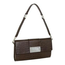Women's Luis Steven Luisa Clutch with Crystal Logo C-4125 Brown Leather