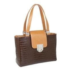Women's Luis Steven Nicole Satchel with Crystal Lock T-4290 Brown Leather