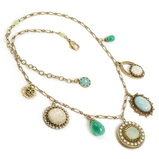 Sweet Romance Bronzetone Amazonite, Aragonite and Seed Pearl Necklace