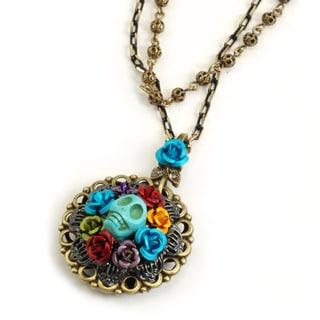 Sweet Romance Bronzetone Enamel Skull Wreath Roses Necklace