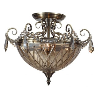 Avery 3-Light Antique Brass Semi-Flush Fixture