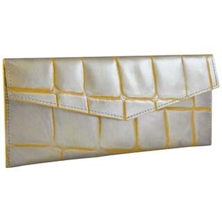 Alicia Klein Silver Embossed Leather Slim Envelope Wallet
