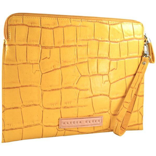Alicia Klein Saffron Embossed Leather Tablet Sleeve