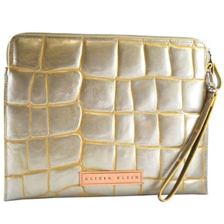 Alicia Klein Silver Jazz Embossed Leather Tablet Sleeve