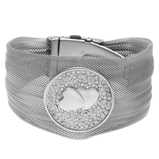 La Preciosa Stainless Steel Crystal Heart Bangle