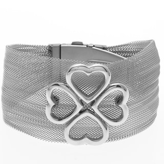 La Preciosa Stainless Steel Flower Bangle