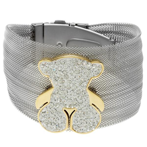 La Preciosa Stainless Steel Crystal Teddy Bear Bangle