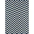 Indoor/Outdoor Navy Chevron Rug (6'7 x 9'6)