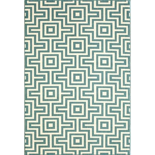 Indoor/ Outdoor Blue Retro Polypropylene Rug (8'6 x 13')