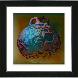 Studio Works Modern 'Octopus Urn - Turquoise' Framed Art Print