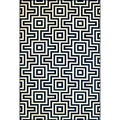 Indoor/Outdoor Navy Retro Rug (5'3 x 7'6)