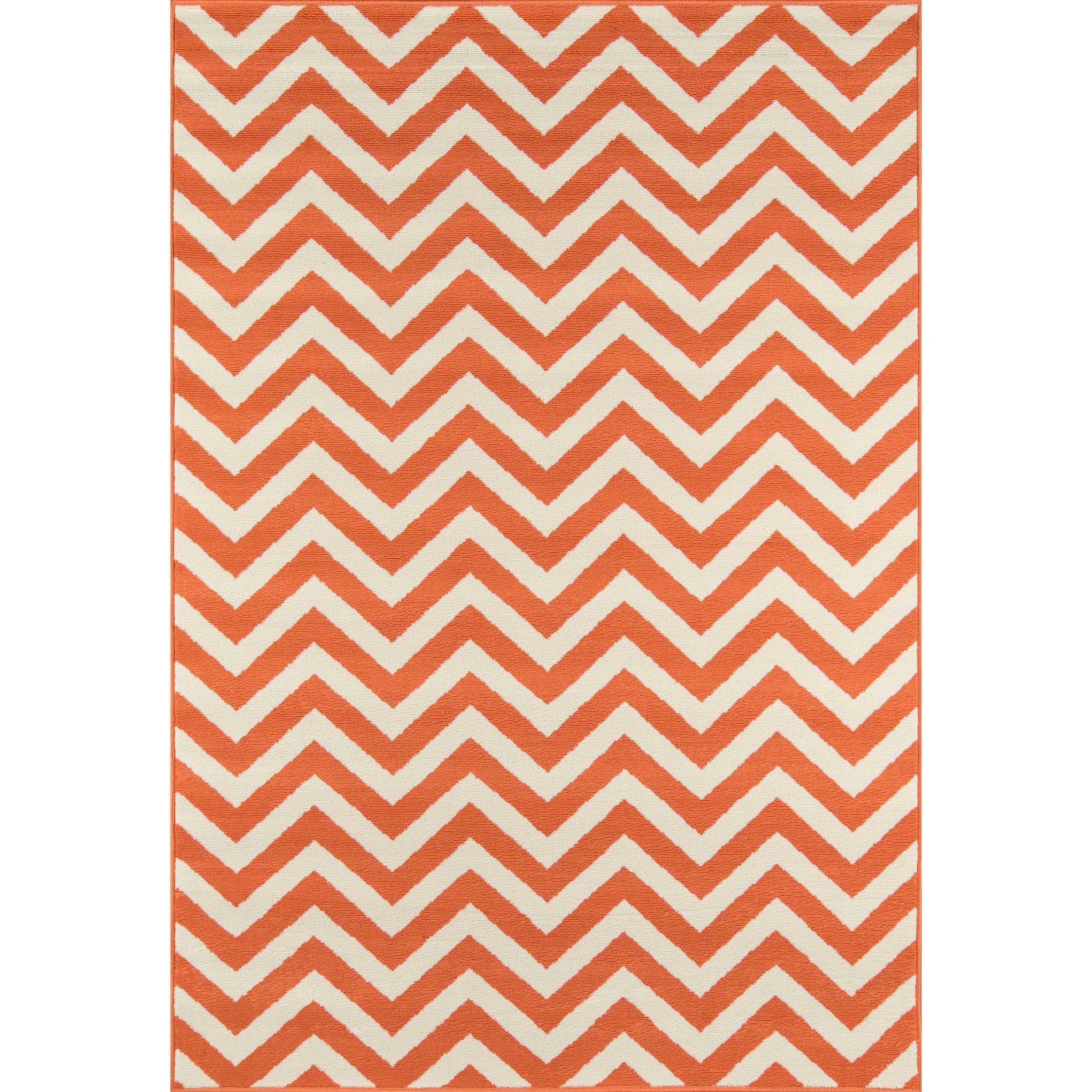 Indoor/Outdoor Orange Chevron Rug (8'6 x 13')