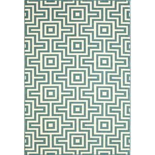 Indoor/Outdoor Blue Retro Rug (5'3 x 7'6)